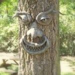Home-made, paper mache tree faces! Absolutely want to do this!