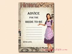 1950′s Retro Housewife Bridal Shower Games advice-for-bride-to-be