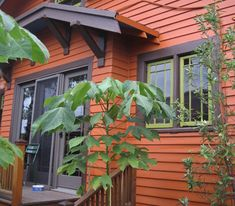 Orange with Brown trim and Green accents. I LOVE these colors. The green is slightly lighter than our house body color, the brown is the color of our roof. Now if I could just find this orange...