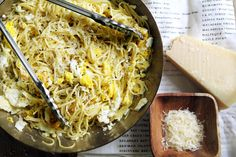 NYT Cooking: Spaghetti With Fried Eggs // Here's a quick and delicious pasta dish to make when you have little time, and even less food in the house. All you need is a box of spaghetti, four eggs, olive oil and garlic (Parmesan is a delicious, but optional, addition).
