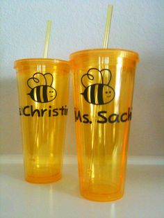 "Teacher gifts for Julian's ""Busy Bee"" class: Tumblers personalized with vinyl."