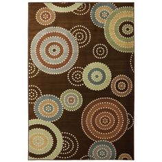 @Overstock.com - Brandon Brown Medallion Rug (8' x 10') - Colorful repeating circles adorn this unique polypropylene rug by Brandon Brown. The design will create a focal point in any room, and it has a low pile for high traffic areas. It is stain and fade resistant, which makes it ideal for a sun room.  http://www.overstock.com/Home-Garden/Brandon-Brown-Medallion-Rug-8-x-10/7894182/product.html?CID=214117 $191.77