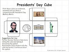 Free - cube to review symbols of the USA - for Presidents' Day!