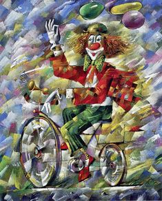 Abstract Clown Art | The symbol of the circus – clowns – paintings by Yuri Matsik