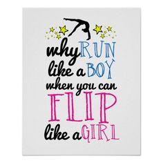 Flip Like a Girl Gymnastics Poster #gymnastics #poster