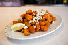 Buffalo Popcorn Shrimp: Fried shrimp, buffalo sauce, bleu cheese dressing