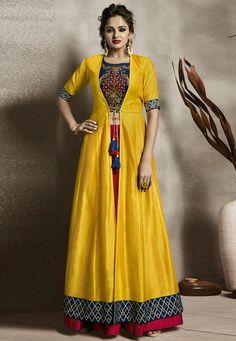 Yellow Banglori Silk Readymade Designer Lehenga With Jacket,Crop top set, Wedding dress,Indian Skirts,Shrug. FREE Express SHIPPING In USA/Uk