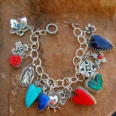 Southwestern Native Style Hearts Turquoise Sugalite Gregory Segura charm_bracelet_1.jpg