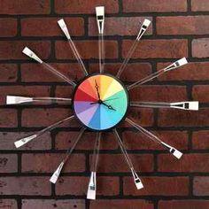 DIY Artsy Rainbow Clock #diy #howto #wall #clock #home