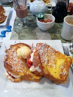 Best Breakfast in America.....Tin Pan Galley, Sackets Harbor NY.  Stuffed French Toast
