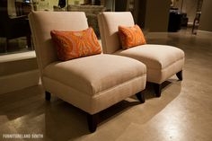 slipper chairs with pillows for master bedroom sitting area