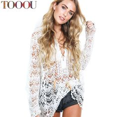 50988f606dd Aliexpress.com   Buy Women Blouses 2016 Summer Sexy Openwork White Lace  Blouse Femme Long Sleeve Shirt Blusas from Reliable shirts khaki suppliers  on TOOOU ...
