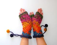 FREE SHIPPING  crochet gloves2multicolorfall fashionnew by seno, $29.00