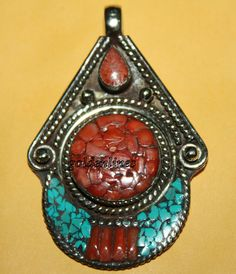 Nepalese Tibetan Handmade Coral Turquoise Pendant by goldenlines