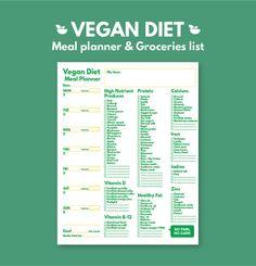 Weekly Meal Planner Vegan Diet and Grocery List by GetWellPlan