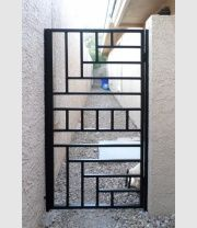 Modern Gate Gallery All - Artistic Iron Works - Ornamental Wrought Iron Specialists Grill Gate Design, Iron Gate Design, House Gate Design, Modern Fence Design, Window Grill Design Modern, Iron Window Grill, Welding Design, Sweet Home Design, Steel Security Doors