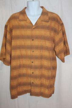 a852ff29190f Tommy Bahama Men s XL Orange Brown 100% Silk Cuban Bowling Camp Shirt   TommyBahama