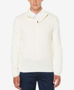 Perry Ellis Men's Quarter-Zip Mock Neck Sweater  | macys.com