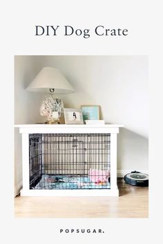 This DIY Dog Crate Furniture Piece Will Transform Your Living Room dog crate table This DIY Dog Crate Is Supercute and Looks Like a Chic Piece of Furniture Dog Crate Table, Dog Crate Furniture, Diy Dog Crate, Wood Dog Crate, Diy Living Room Furniture, Furniture Projects, Outdoor Furniture, Dog Crate Cover, Puppy Crate