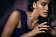 Rosendorff Indulgence Collection Pink Sapphire and Diamond Necklace with Matching Earrings and Cocktail Ring