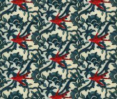 Damascus Red Bird fabric by finandivy on Spoonflower - custom fabric
