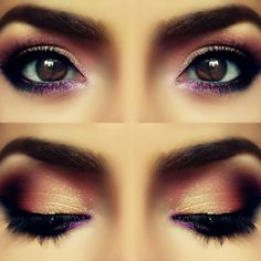 The rose petal eye look is great for any brown-eyed girl. See the beautiful effect when the eyes are open and closed. You'll have hot guys staring down your eyes all the time with rose petal eyes.