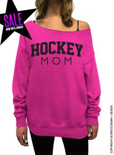 Hockey Mom - Pink Slouchy Oversized Sweatshirt #mothersday #present #gifts #etsy #ideas