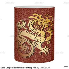 Gold Dragons & Damask on Deep Red Flameless Candle