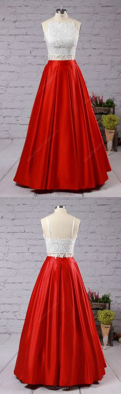 Lace Prom Dresses,Long Prom Dresses For Teens,Ball Gown Formal Dresses 2018,Square Neckline Evening Party Dresses Satin with Appliques #reddresses