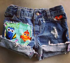 SALE 19.99 Girls denim shorts finding dory finding nemo birthday distressed shorts infants girls jean free matching hair bow or infant headb by MountainMadeDenim on Etsy