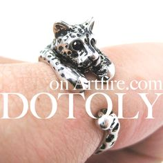 Leopard Jaguar Animal Wrap Around Ring in Shiny Silver - Sizes 4 to 9 Available