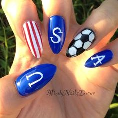 USA | 38 Awesome Nail Art Designs Inspired By The World Cup. We love these #worldcup nails for #manimonday!
