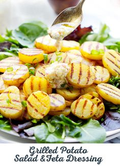 Warm or cold, this grilled potato salad can be prepared inside all winter long or enjoyed on a warm day. Serve with a feta vinaigrette and take it on the go for a fun packed lunch. Recipe courtesy of Lyubomira Lsl Grilling Recipes, Cooking Recipes, Healthy Grilling, Cajun Recipes, What's Cooking, Drink Recipes, Seafood Recipes, Dinner Recipes, Healthy Salad Recipes