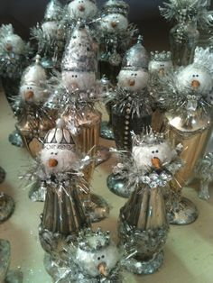 Glitzy snowmen made from salt and pepper shakers for Glitterfest!