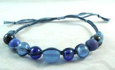 Hippy Boho Chic Stormy Sea Blue Beaded Micro Macrame Friendship Bracelet by HeartMesaGifts