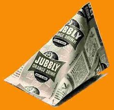 flavoured ice pyramid - jubilee/jublie/Jubbly You bought these ready frozen as we never had a freezer then.