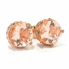 Brilliante® 18K Rose Gold Embraced&trade Round Simulated Morganite Stud Earrings