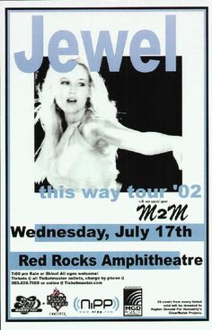 Original concert poster for Jewel live at Red Rocks in Morrison, CO 2002. 11