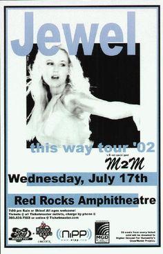 Original concert poster for Jewel live at Red Rocks in Morrison, CO 2002. 11