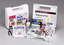 10 Person- 62 piece bulk kit- plastic case w/ dividers- 1 ea. - This 62-piece first aid kit is ideal for contractors, vehicles or small companies with less than 10 employees. It meets federal OSHA requirements 1910.151b (State requirements may vary) . Sturdy and convenient, the 10-unit plastic case contains the first aid essentials to prepare you for work-related accidents. The partitioned, water-resistant plastic case is wall mountable yet has a handle for easy carrying.Kit Includes: (16 )…