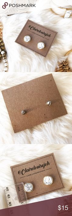 - WHITE MARBLE CIRCLE EARRINGS - White marble stud earrings with gold border. Marble varies slightly between each pair. 3rd photo shows size. Metal backs. 🎄Perfect Stocking Stuffer! Pair with other jewelry accessories in my closet for 20% off!  🙅🏼No trades / selling off of Posh.  ✨Offers always welcome!✨ Claire Louise Boutique Jewelry Earrings