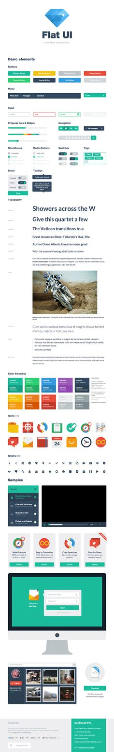 An interactive style-guide example of a nice flat UI set, also for download. http://designmodo.github.io/Flat-UI/