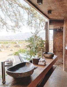 Stay At Hotel Bruma Casa 8 Mexico with Design Finder Escapes Interior Architecture, Interior And Exterior, Natural Interior, Desert Homes, Beautiful Hotels, House Goals, Cabana, Bathroom Interior, Bathroom Inspiration