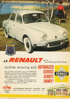 In the UK, 1969 Car Advertising, Old Advertisements, Classic Motors, Classic Cars, 403 Cabriolet, Renault Sport, Pub Vintage, Ad Car, Car Brochure