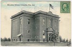 Indiana Columbia City Mclallen School Old Postcard