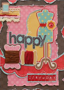 super cute card - I love the sewing embellies.  This would be perfect for my mother.  Card by Linda Kretz using page maps sketch