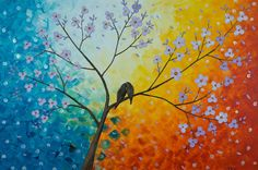 """""""Love Birds, Cherry Blossom and Sunset""""  QiQiGallery @ etsy.com"""