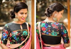 House of Blouse is the new way to the perfect blouse, Blouse online, Blouse shopping, designer. Blouse Back Neck Designs, Sari Blouse Designs, Fancy Blouse Designs, Designer Blouse Patterns, Blouse Styles, Floral Print Sarees, Floral Blouse, Printed Blouse, Stylish Blouse Design