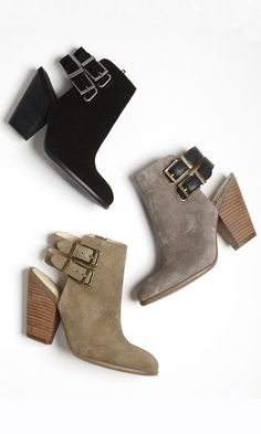Genuine leather bootie with a stacked heel
