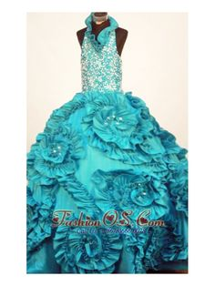 Perfect Little Girl Pageant Dresses Turquoise Halter Top Neck Ruffles Taffeta In 2013  http://www.fashionos.com  http://www.facebook.com/quinceaneradress.fashionos.us  The skirt is the center of the dress accented with wide flower details with scattered beads at center of each of them. Style your hair all the way up and wear a tiara as a complement. The puffy skirt creates a beautiful shape to complete the dress. The corset style bodice is finished with a lace up tie back.